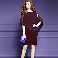 Pentru femei Ieșire Plus Size Sofisticat Șifon Rochie-Culoare solidă Manșon Jumate Rotund Lungime Genunchi Nailon Vară Talie medie