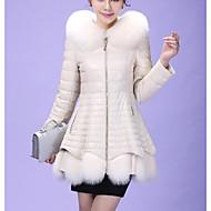 Feminino Casaco de Pêlo Para Noite Simples Moda de Rua Inverno,Sólido Longo Pêlo Sintético Poliuretano Pêlo de Raposa Com Capuz Manga