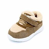 Para Meninas sapatos Camurça Inverno Conforto Rasos Para Casual Preto Bege