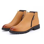 Masculino sapatos Couro Ecológico Primavera Outono Conforto Coturnos Botas Botas Cano Médio Ziper Para Casual Preto Amarelo Marron