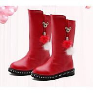 tanie Obuwie dziewczęce-Dla dziewczynek Buty PU Zima Jesień Śniegowce Comfort Buciki na Casual Black Czerwony Burgundowy