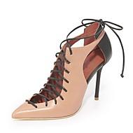 baratos -Feminino Sapatos Courino Verão Gladiador Plataforma Básica Saltos Salto Agulha Dedo Apontado Botas Curtas / Ankle Cadarço Combinação Para