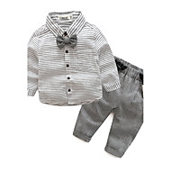 Dítě Chlapecké Bavlna Denní Proužky Podzim Sady oblečení, Dlouhý rukáv Šedá