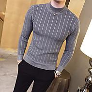 Herre Daglig Grunnleggende Stripe Ensfarget Langermet Tynn Normal Pullover, Crew-hals Høst / Vinter Grå / Gul / Militærgrønn L / XL / XXL