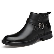 baratos Sapatos Masculinos-Homens Pele Outono / Inverno Conforto / Forro de fluff Botas Botas Cano Médio Preto / Festas & Noite