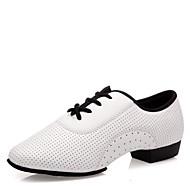 baratos Sapatilhas de Dança-Mulheres Tênis de Dança Pele Napa Salto / Meia Solas Salto Baixo Sapatos de Dança Branco