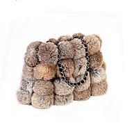 Mulher Bolsas Inverno Pêlo Tote Penas / Pêlo para Festa/Eventos Compras Preto Vermelho Cinzento Camel