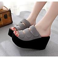 Feminino Sapatos Couro Envernizado Primavera Outono Conforto Chinelos e flip-flops Para Casual Preto Cinzento Rosa claro