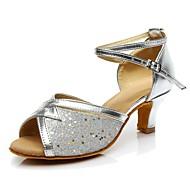 baratos Sapatilhas de Dança-Mulheres Sapatos de Dança Latina Materiais Customizados Salto Salto Baixo Personalizável Sapatos de Dança Prata / Interior