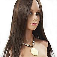 Ženy Paruky z přírodních vlasů Euroasijské Přírodní vlasy Se síťkou 130% Hustota Rovné Paruka Medium Brown Jahodový blond Medium Auburn
