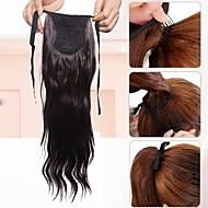 hestehale et stykke hairpiece hair extension syntetisk lang bølget brun dame syntetisk fiber parykk