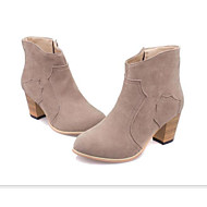 Women's Shoes Nubuck leather PU Fall Winter Basic Pump Fashion Boots Combat Boots Boots Chunky Heel Booties/Ankle Boots For Casual Yellow