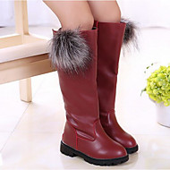 Girls' Shoes Leatherette Fall Winter Comfort Fashion Boots Boots For Casual Burgundy Red Black