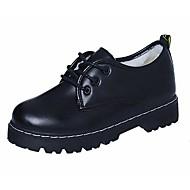 여성 구두 PU 가을 컴포트 옥스포드 낮은 굽 뽀죡한 발 레이스-업 제품 캐쥬얼 블랙