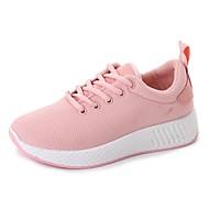 baratos Sapatos Femininos-Mulheres Tule Outono Conforto Tênis Caminhada Sem Salto Ponta Redonda Cadarço Branco / Preto / Rosa claro