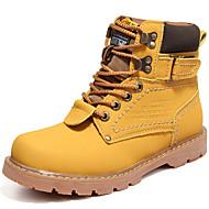 baratos Sapatos de Tamanhos Grandes-Mulheres Sapatos Couro Outono / Inverno Curta / Ankle / Coturnos Botas Botas Curtas / Ankle Cadarço Amarelo / Café / Marron