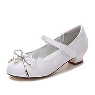 baratos Sapatos de Menina-Para Meninas Sapatos Cetim Primavera Verão Conforto / Bailarina / Tira no Tornozelo Saltos Laço / Pérolas / Pérolas Sintéticas para Azul