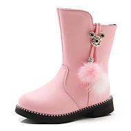 baratos -Para Meninas sapatos Couro Ecológico Outono Inverno Botas da Moda Botas Para Casual Preto Vermelho Rosa claro