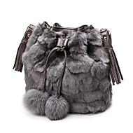 Χαμηλού Κόστους Fur Bags-Γυναικεία Τσάντες Γούνα Τσάντα ώμου Τσέπη για Ψώνια Causal Όλες οι εποχές Μαύρο Γκρίζο Καφέ