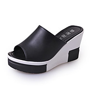 Women's Shoes PU Summer Slippers & Flip-Flops Walking Shoes Wedge Heel Round Toe Hollow-out For White Black