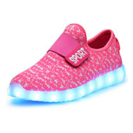 Girls' Shoes Real Leather Spring Fall Light Up Shoes Comfort Novelty Sneakers Magic Tape LED For Casual Outdoor Blushing Pink Green Red