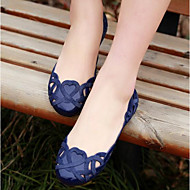 Women's Shoes PU Spring Fall Jelly Shoes Loafers & Slip-Ons Flat Heel For Casual Almond Dark Blue Black