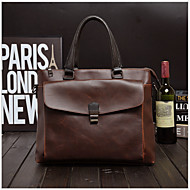 Men Bags PU Briefcase Zipper for Office & Career All Seasons Coffee