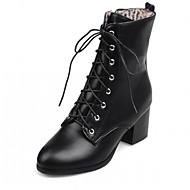 Damen Schuhe Kunstleder PU Herbst Winter Komfort Neuheit Stiefeletten Stiefel Blockabsatz Runde Zehe Booties / Stiefeletten Schnürsenkel