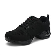 "cheap Dance Sneakers-Women's Dance Sneakers Tulle Sneaker Practice Sided Hollow Out Flat Heel White Black Red 1"" - 1 3/4"""
