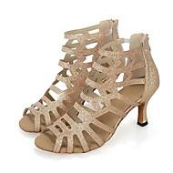 baratos Sapatilhas de Dança-Mulheres Sapatos de Salsa Gliter / Honeycomb Salto Recortes / Lantejoula Salto Alto Personalizável Sapatos de Dança Dourado / Preto / Interior