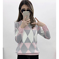 Damer I-byen-tøj Normal Pullover Farveblok,Rund hals Langærmet Andet Forår Vinter Medium Mikroelastisk