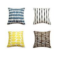 4つ 個 コットン 枕カバー ベッド用枕 旅行用枕 ソファのクッション,幾何学模様 アールデコ調 アーティスティック クラシック モダンスタイル シック・モダン 正方形 装飾 座布団