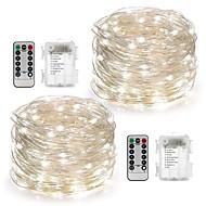 2pack feericamente corda luzes bateria operada à prova d'água 8 modos 100led 10m fio de cobre firefly luzes controle remoto
