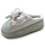 Damen Schuhe Beflockung PU Herbst Komfort Slippers & Flip-Flops Creepers Runde Zehe Schleife Für Normal Schwarz Grau