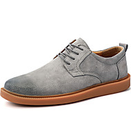 cheap Men's Oxfords-Men's Shoes Suede Winter Fall Comfort Oxfords Booties/Ankle Boots Lace-up for Casual Outdoor Black Gray Brown