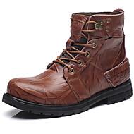 メンズ 靴 ナパ革 秋 冬 コンバットブーツ ブーティー ブーツ ブーティー/アンクルブーツ 編み上げ 用途 カジュアル ブラック Brown