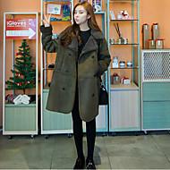 Langærmet Peter Pan-krave Damer Normal Ensfarvet Vinter Simple Afslappet/Hverdag Frakke,Kashmir Bomuld
