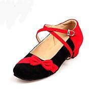 cheap Dance Shoes-Women's Kids' Dance Shoes Flocking Heel Performance Black/Red