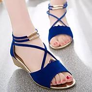 baratos Sapatos Femininos-Mulheres Sapatos Pele Nobuck / Camurça Primavera / Verão Conforto Sandálias Salto Plataforma Preto / Vermelho / Azul