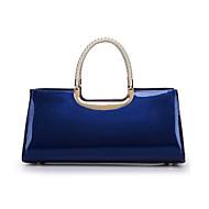 baratos Bolsas Tote-Mulheres Bolsas Couro Envernizado Tote Ziper Rosa / Azul Escuro / Fúcsia