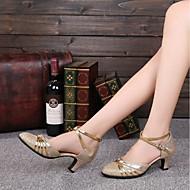 billige Moderne sko-Dame Moderne sko Glimtende Glitter Tvinning Kustomisert hæl Kan spesialtilpasses Dansesko Gull / Rød / Innendørs