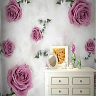 billige Tapet-Mønster 3D Blomst Hjem Dekor Rustikk Tapetsering, Lerret Materiale selvklebende nødvendig Veggmaleri, Tapet