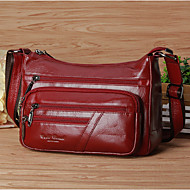 Women Bags Cowhide Shoulder Bag Zipper for Casual All Seasons Black Coffee Dark Red