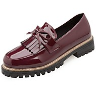Women's Shoes Patent Leather Winter Comfort Loafers & Slip-Ons Low Heel Round Toe Bowknot For Outdoor Burgundy Beige Black