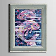 baratos -Animal Vintage Abstracto Quadros Emoldurados Conjunto Emoldurado Arte de Parede,PVC Material com frame For Decoração para casa Arte