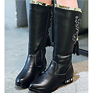 Meisjes Schoenen Leer Herfst Winter Comfortabel Modieuze laarzen Laarzen Voor Causaal Wit Zwart Rood Roze