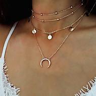 Mulheres MOON Forma Metálico Personalizada Multi Camadas Multi-maneiras Wear Fashion Gargantilhas Colares com Pendentes colares em camadas