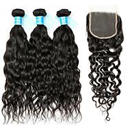 Remy Cabelo Peruviano Trama do cabelo com Encerramento Ondas Leves Extensões de cabelo 4 Preto