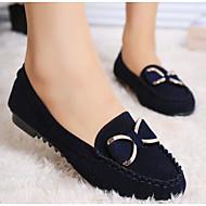 Feminino Sapatos Pele Nobuck Primavera Verão Conforto Mocassins e Slip-Ons Para Casual Preto Azul Escuro Amarelo Vinho