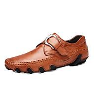Masculino sapatos Pele Real Outono Conforto Oxfords Para Preto Castanho Claro Castanho Escuro